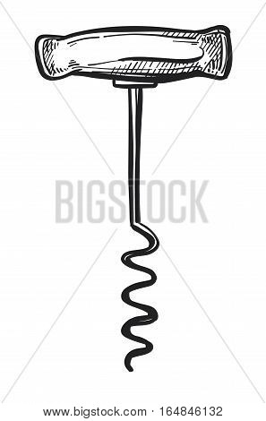 Old fashioned corkscrew freehand pencil drawing isolated on white background vector illustration. Corkscrew with metal spiral and wooden handle sketch in vintage style. Retro bottle opener icon.