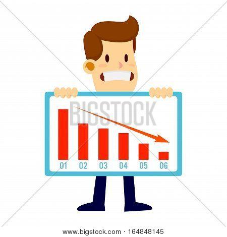 Businessman holding a declining failed sales chart with a sad face