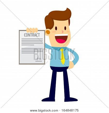 Businessman showing job contract with a happy face
