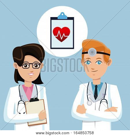 two doctors stethoscope clipboard and heart rate vector illustration eps 10