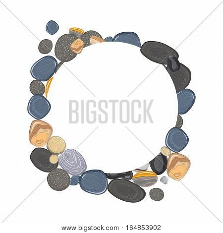 Round frame with realistic river stones vector illustration
