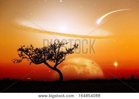 Unreal Landscape Of Lone Tree Silhouette With Planet And Galaxy Visible In Vivid Orange Sky.