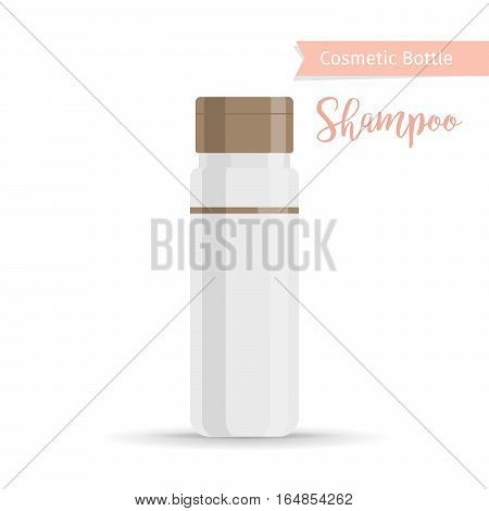 Cosmetics bottle product with hand drawn inscription shampoo. Vector illustration