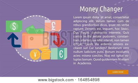 Money Changer Conceptual Banner | Great flat illustration concept icon and use for business, people, marketing, working, idea, event and much more.