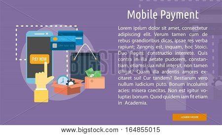 Mobile Payment Conceptual Banner | Great flat illustration concept icon and use for business, people, marketing, working, idea, event and much more.