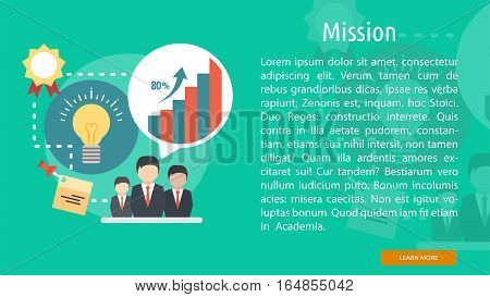 Mission Conceptual Banner | Great flat illustration concept icon and use for business, people, marketing, working, idea, event and much more.