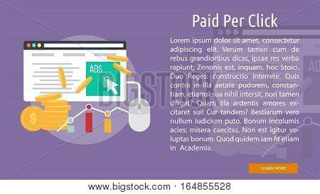 Paid Per Click Conceptual Banner | Great flat illustration concept icon and use for business, people, marketing, working, idea, event and much more.