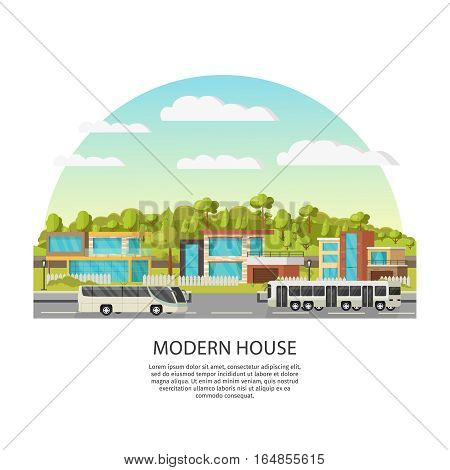 Suburban houses concept with modern architecture glass windows green trees road and buses vector illustration