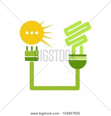 Vector sign Solar Energy green lamp, isolated illustration on white