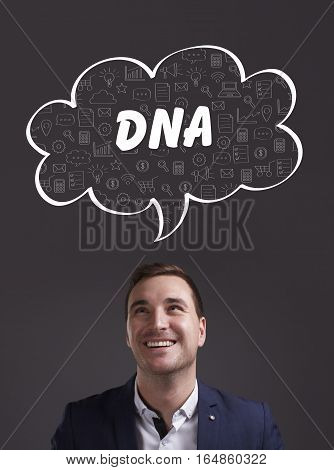Business, Technology, Internet And Marketing. Young Businessman Thinking About: Dna