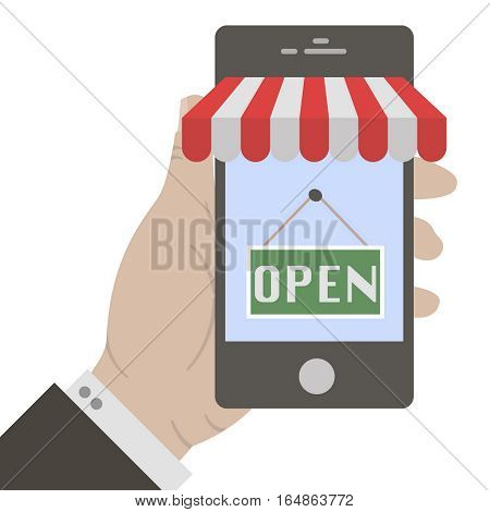 Mobile payment. Flat design. Hand holing smart phone with lettering open on screen. E-commerce flat design concept. Using mobile smart phone for online purchasing.