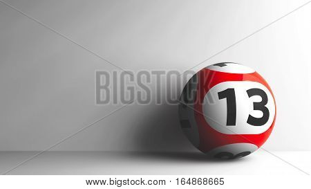 Red lottery ball with number 13 on grey background three-dimensional rendering 3D illustration