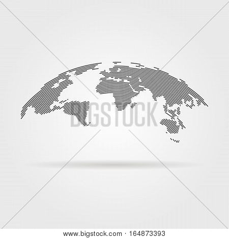 poster of simple black world map from thin line. concept of infographics element, trip around the world, globalization. isolated on gray background. flat style trend modern logo design vector illustration