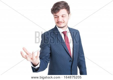Business Man Standing And Holding Something