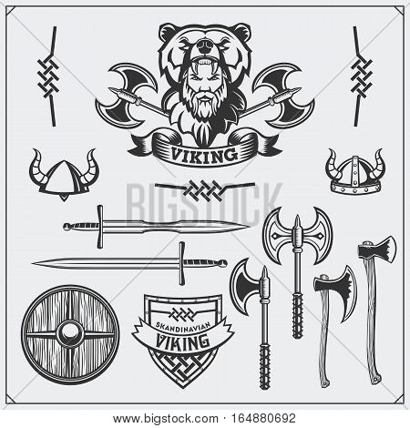 Viking set. Emblem, horned helmet, shield, sword and ax. Vintage style.