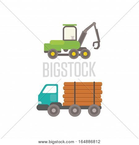 Timber industry occupation truck icons set in flat style. Lumberjack equipment collection vector illustration. Construction and woodworking carpentry equipment.