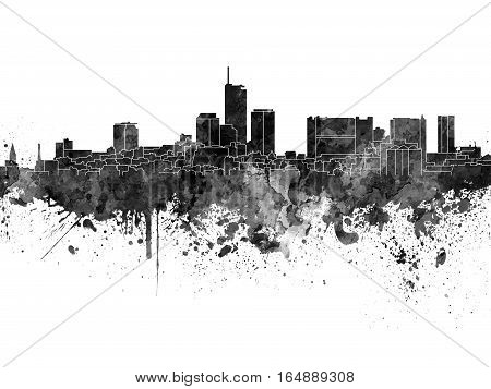 Essen skyline in artistic abstract black watercolor