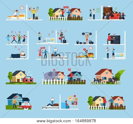 Conflicts with neighbors icons set with noise symbols flat isolated vector illustration
