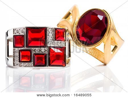 bracelets with ruby isolated on white background