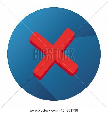 Vector Flat Icon With Abandon Red Mark And Blue Button With Long Shadow