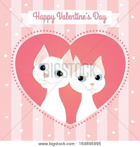 Vector cartoon illustration of a couple of white cats looking at each other. Heart shaped frame, pink pastel colors, striped background, square format. Text