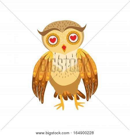 Owl In Love Cute Cartoon Character Emoji With Forest Bird Showing Human Emotions And Behavior. Vector Illustration With Woodland Animal And Its Life Situation.