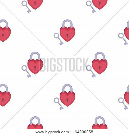 Lock and key icon in cartoon style isolated on white background. Romantic pattern vector illustration.