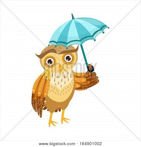 Owl With Umbrella Cute Cartoon Character Emoji With Forest Bird Showing Human Emotions And Behavior. Vector Illustration With Woodland Animal And Its Life Situation.