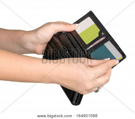 Hands Taking a Credit Card from a Wallet
