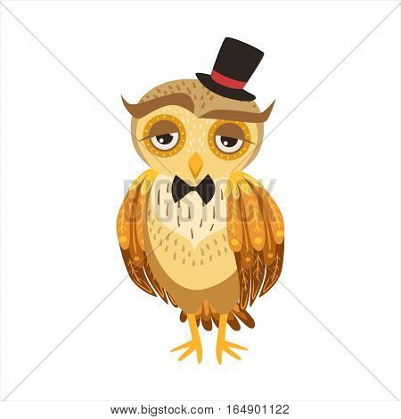 Gentleman Owl In Top Hat Cute Cartoon Character Emoji With Forest Bird Showing Human Emotions And Behavior. Vector Illustration With Woodland Animal And Its Life Situation.