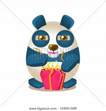 Cute Panda Activity Illustration With Humanized Cartoon Bear Character Opening A Present. Funny Animal In Fantastic Situation Vector Emoji Drawing.