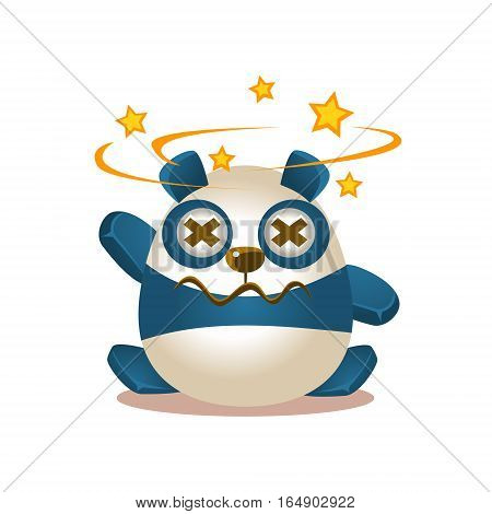 Cute Panda Activity Illustration With Humanized Cartoon Bear Character Seeing Stars Before Eyes. Funny Animal In Fantastic Situation Vector Emoji Drawing.