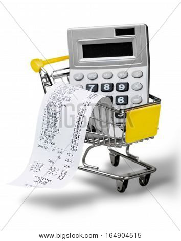 Cash Register Receipt and Calculator in a Shopping Cart
