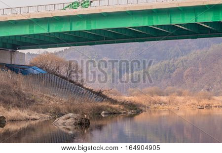 Landscape of view from under a bridge crossing a river