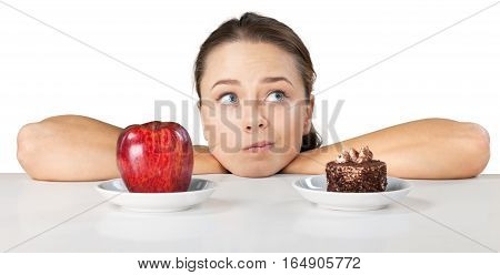Portrait of a Woman Choosing Between Fruit and Cake