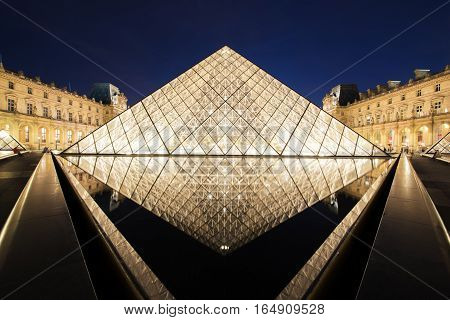 Paris France - May 7 2016: The Louvre Museum is one of the world's largest museums and a historic monument. A central landmark of Paris France. Paris is the capital and most populous city of France