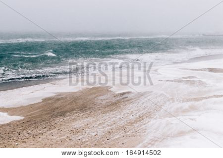 View Of The Beach And Sea During Blizzards And Snowfall, Minimalistic Landscape