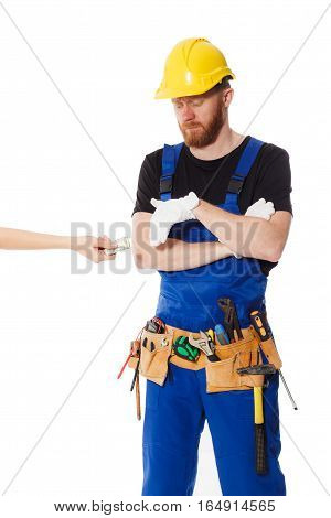 Man Builder In The Uniform And White Gloves