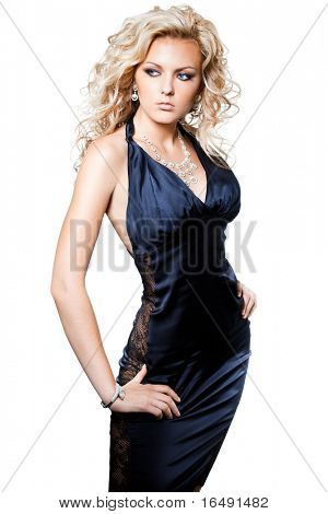beautiful fashionable woman on white background