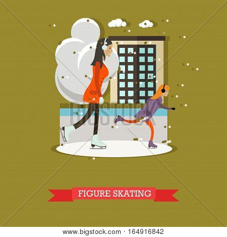 Vector illustration of mother with daughter skating. Cartoon characters. Winter sports and recreation concept design element in flat style.