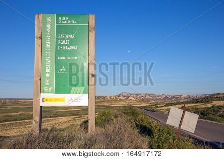 Entrance sign to the Bardenas Reales Natural Park. Navarre Spain