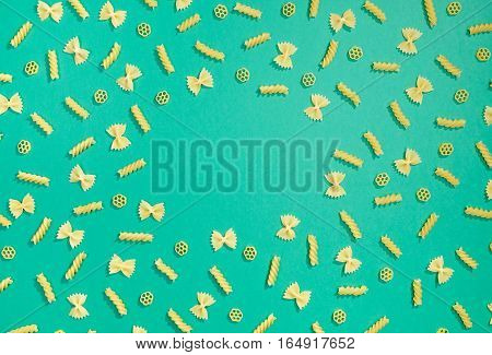 Frame From Wheat Pasta On Green Background