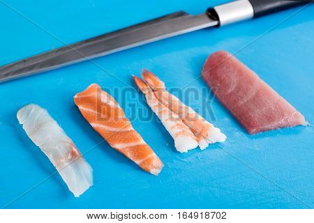 Four Different Seafood Ingredients For Nighiri