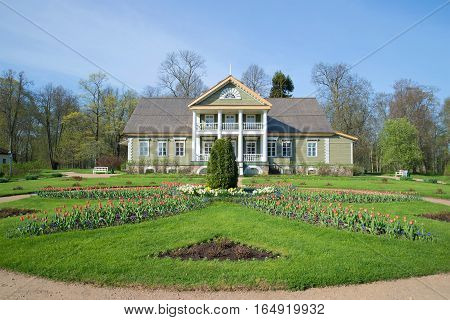 PUSHKIN HILLS, RUSSIA - MAY 08, 2016: The house of ancestors of the great russian poet A. S. Pushkin in a manor Petrovskoe in the sunny May day. Historical landmark