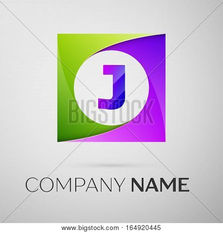 Letter J vector logo symbol in the colorful square on grey background. Vector template for your design