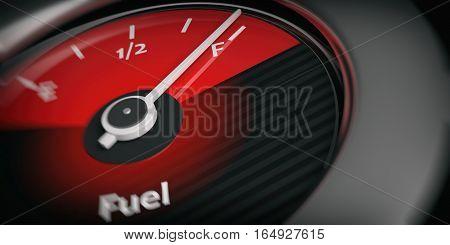 3D Rendering Car Indicator Fuel Full
