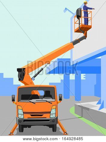 Aerial work platform. Two layers: the city and the aerial.