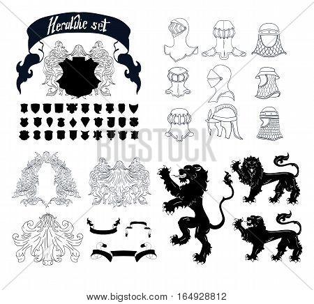 Vector Heraldic Set lions helmet shields template