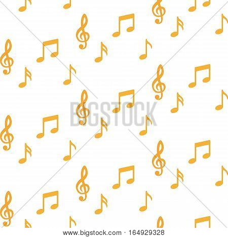 Notes. Music. Seamless pattern on white background. Vector illustration. Flat design style. Swatch inside