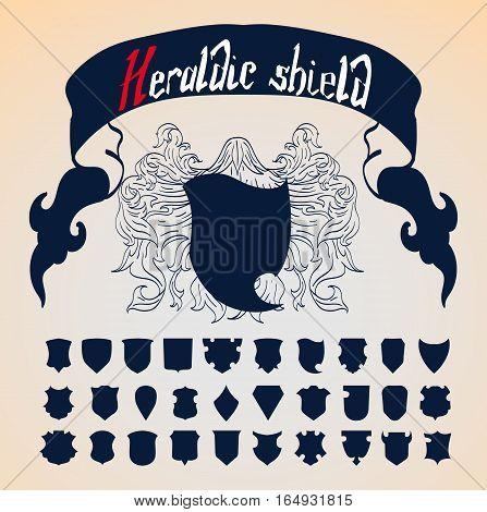 Vector Heraldic Shield Set 30 shields template